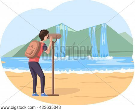 Man With Binoculars Stands On Sand Beach And Looks At Mountaines And Waterfalls During Travel. Guy W