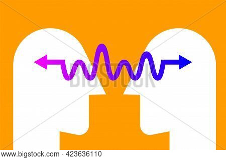 Abstract Coaching Illustration. Communication Concept. Empathy Icon With Two Profiles And Arrow. Edu