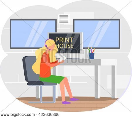 Young Woman Working In Typography. Employee Works With Electronic Device, Laptop In Computer Paint S