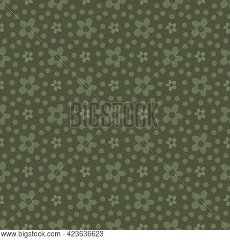 Ditsy Sage Green Vector Tiny Flowers Seamless Pattern Background. Simple Geometric Abstract Naive Fl