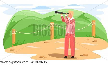 Man With Binoculars Stands On Observation Deck And Looks At Mountaines In Sea During Travel. Guy Wit