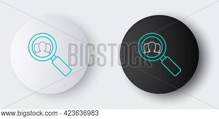 Line Magnifying Glass For Search A People Icon Isolated On Grey Background. Recruitment Or Selection