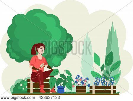 Girl Gardening Plants On Backyard, Flowers On Flower Bed, Enjoying Tulips And Roses In Spring Garden