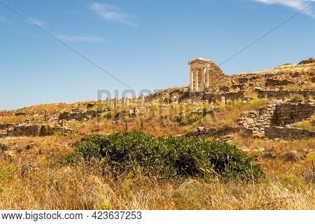 Well Preserved Temple Of Isis On Delos Island Located On The Hill Above The Ancient City With Other