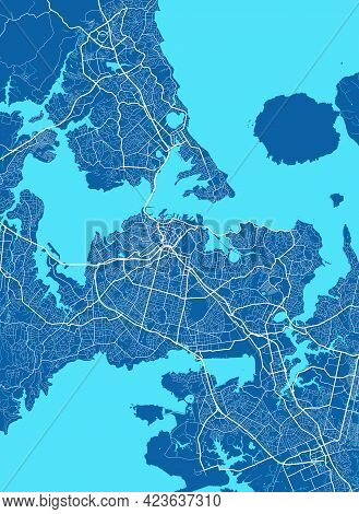 Detailed Map Of Auckland City Administrative Area. Royalty Free Vector Illustration. Cityscape Panor