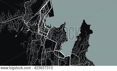Black And White Wellington City Area Vector Background Map, Streets And Water Cartography Illustrati