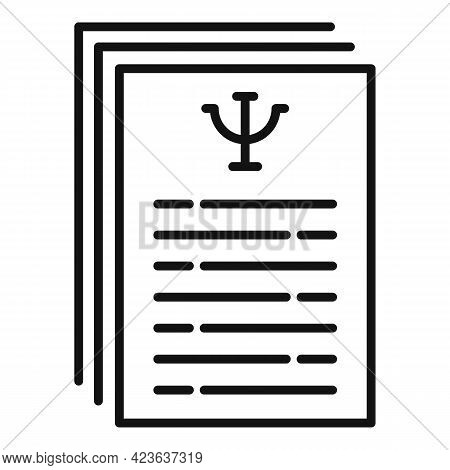 Psychological Support Contract Icon. Outline Psychological Support Contract Vector Icon For Web Desi