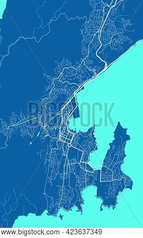 Detailed Map Of Wellington City Administrative Area. Royalty Free Vector Illustration. Cityscape Pan