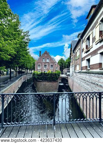 Traditional old city architectural landscape in Amiens, France