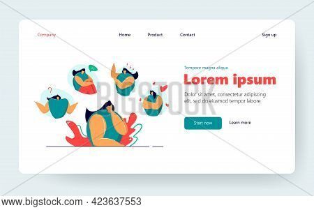 Woman Feeling Various Emotions Flat Vector Illustration. Cartoon Lady Expressing Mood Changes From S