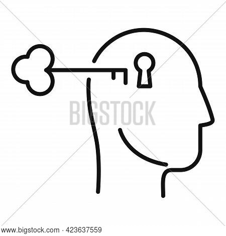 Key To Psychological Problem Icon. Outline Key To Psychological Problem Vector Icon For Web Design I