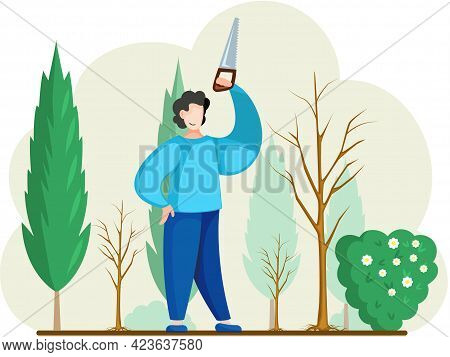 Man Sawing Plant With Hand Saw. Professional Garden Worker Working With Bush Or Tree In Backyard. Ga
