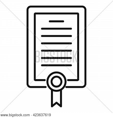 Diploma Of Psychologist Icon. Outline Diploma Of Psychologist Vector Icon For Web Design Isolated On