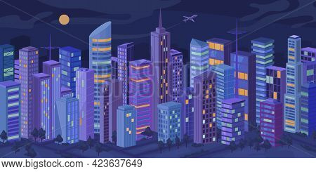 Downtown At Night, Facade Exteriors Of Urban Buildings With Illuminated Windows, Cityscape At Evenin