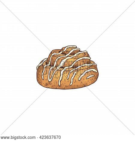 Cinnamon Roll Bun With Icing, Engraving Hand Drawn Vector Illustration Isolated.