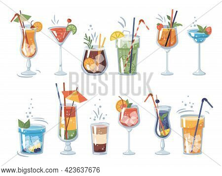 Beverages And Drinks In Bars And Restaurants. Isolated Cocktails Alcoholic And Non-alcoholic, Glasse