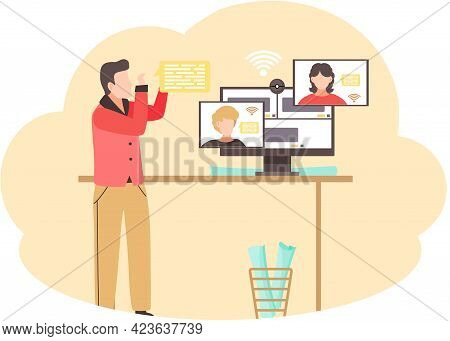 Man And Woman Video Chatting Online Using Webcam. Girl And Boy Communicate Via Internet Application