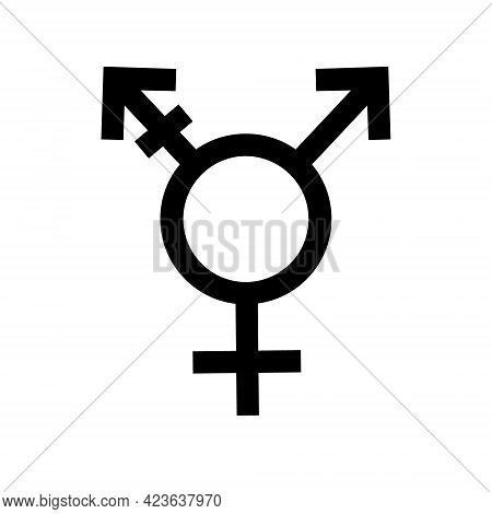Vector Flat Trans Transgender Transsexual Symbol Isolated On White Background