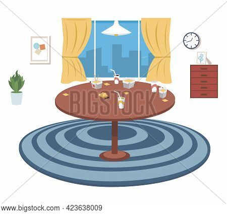 Table With Food, Drinks And Stickers. Furniture Model For Interior Of Room For Eating And Spending T