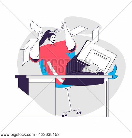 Anger Emotion Web Concept. Woman Screaming, Throws Out Papers. Expression Negative Feelings People S