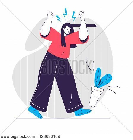 Anger Emotion Web Concept. Woman Screaming And Kicks Plant. Expression Negative Feelings People Scen