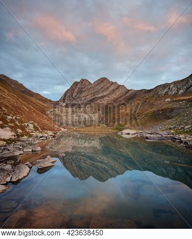 Blue Lake With Clear Water And Reflection Of Rocky Mountain. Beautiful Mountain Landscape. Katitsver