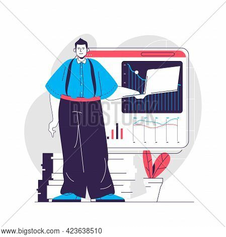 Data Analysis Web Concept. Analyst Works In Statistics, Analyzes Graphs. Business Analytics People S