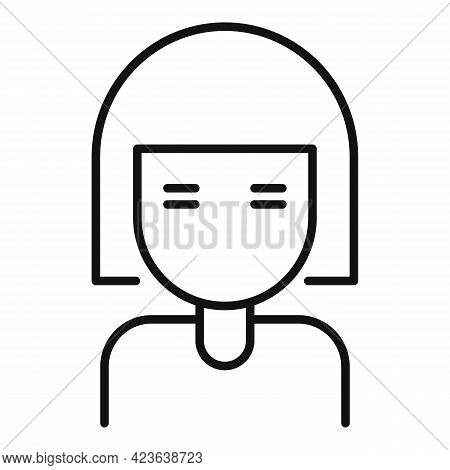 Asian Girl Icon. Outline Asian Girl Vector Icon For Web Design Isolated On White Background