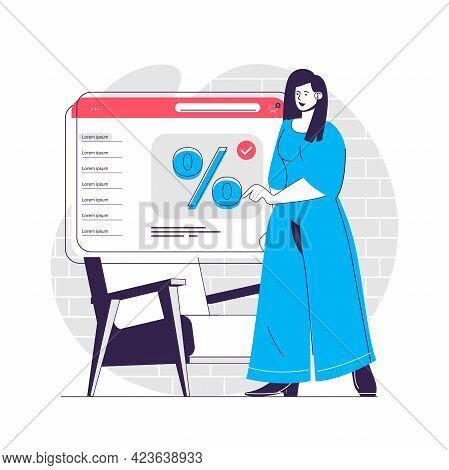 Discount Sale Web Concept. Discount Announcements On Store Website. Marketing Promotion People Scene