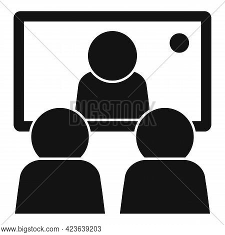 Conference Online Meeting Icon. Simple Illustration Of Conference Online Meeting Vector Icon For Web