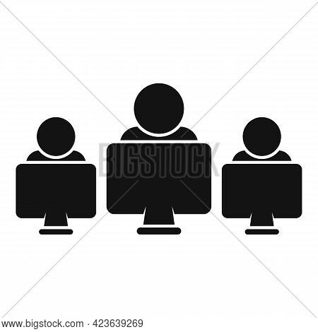 Group Online Meeting Icon. Simple Illustration Of Group Online Meeting Vector Icon For Web Design Is