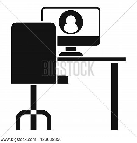 Place Online Meeting Icon. Simple Illustration Of Place Online Meeting Vector Icon For Web Design Is