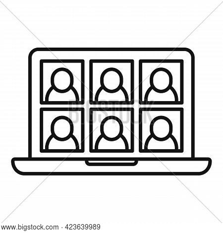 Friends Group Online Meeting Icon. Outline Friends Group Online Meeting Vector Icon For Web Design I