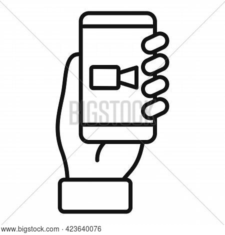 Smartphone Online Meeting Icon. Outline Smartphone Online Meeting Vector Icon For Web Design Isolate