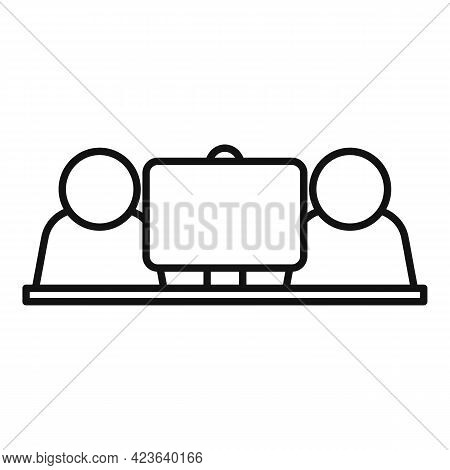 Office Online Meeting Icon. Outline Office Online Meeting Vector Icon For Web Design Isolated On Whi