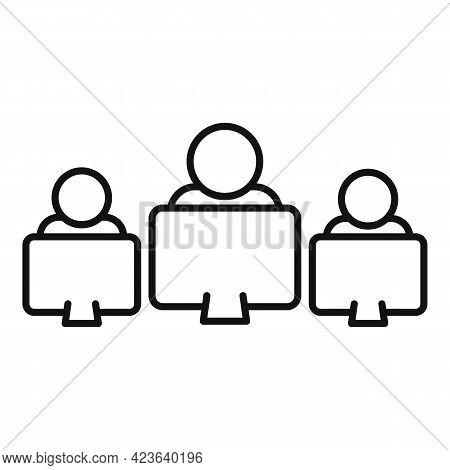 Group Online Meeting Icon. Outline Group Online Meeting Vector Icon For Web Design Isolated On White