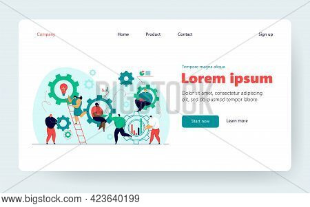 Business People Working Together In Team Flat Vector Illustration. Cartoon Scene Of Company Structur
