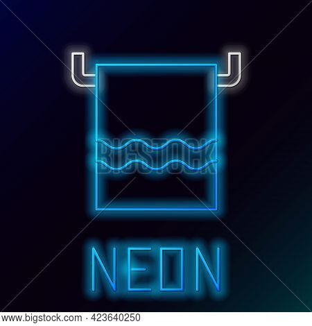 Glowing Neon Line Towel On A Hanger Icon Isolated On Black Background. Bathroom Towel Icon. Colorful