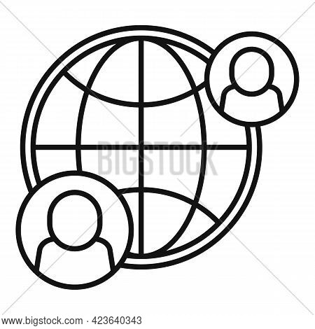 Global Online Meeting Icon. Outline Global Online Meeting Vector Icon For Web Design Isolated On Whi