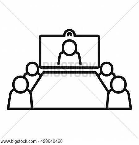 Table Online Meeting Icon. Outline Table Online Meeting Vector Icon For Web Design Isolated On White