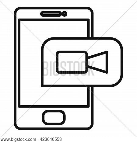 Phone Online Meeting Icon. Outline Phone Online Meeting Vector Icon For Web Design Isolated On White