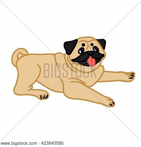 Vector Illustration Of Adorable Pug In Lying Position. The Image Can Be Used As Design Element In Po