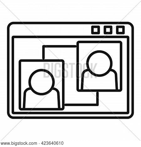 Web Page Online Meeting Icon. Outline Web Page Online Meeting Vector Icon For Web Design Isolated On