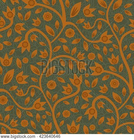 Modern Indian Florals Style Vector Seamless Pattern Background. Sage Green And Terracotta Ochre Abst