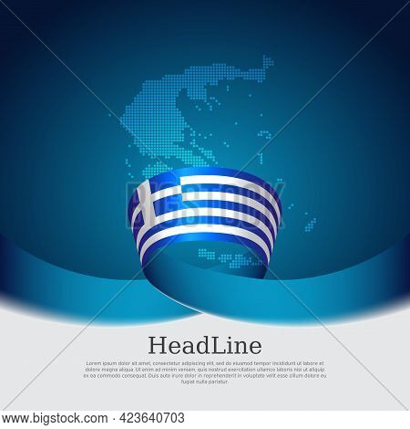 Greece Flag Background. Greece Flag Mosaic Map On A Blue White Background. National Greek Poster. Ve