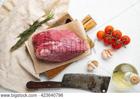 Beef Meat Cut Raw Set, On Wooden Cutting Board With Old Butcher Cleaver Knife, On White Background