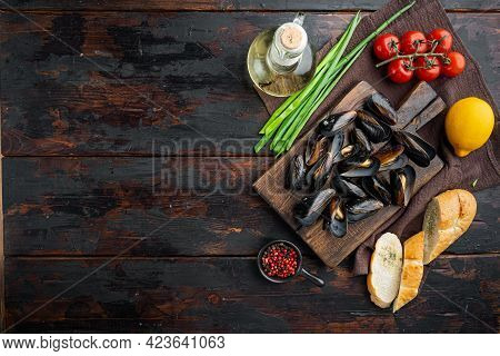 Steamed Mussels In White Wine Set, On Wooden Cutting Board, On Old Dark  Wooden Table Background, To