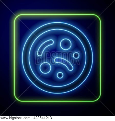 Glowing Neon Bacteria Icon Isolated On Blue Background. Bacteria And Germs, Microorganism Disease Ca