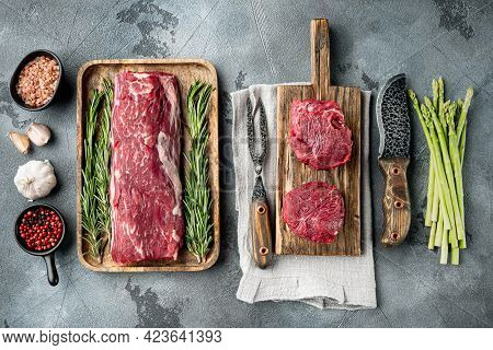 Tenderloin, Or Eye Fillet Cut Raw Marbled Beef Meat Set, On Gray Stone Background, Top View Flat Lay