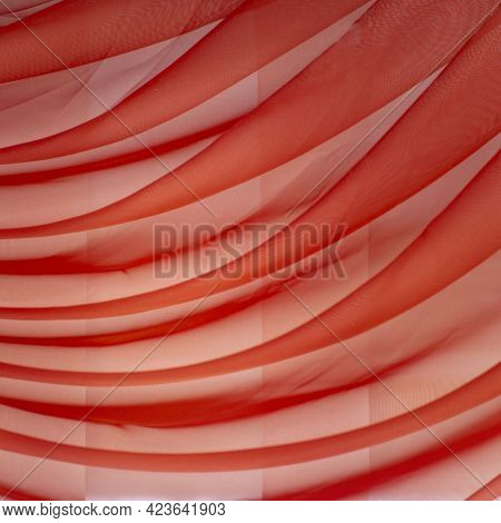 Horizontal Folds On Organza Curtains For Background And Design